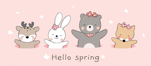 Disegna simpatico animale nel buco sul colore rosa per la primavera. Vettore Premium