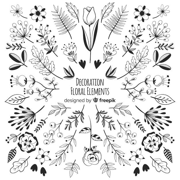 Disegnare a mano elementi di decorazione floreale Vettore gratuito