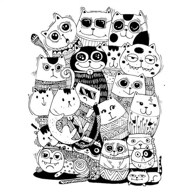 Disegnare a mano gatti in bianco e nero Vettore Premium