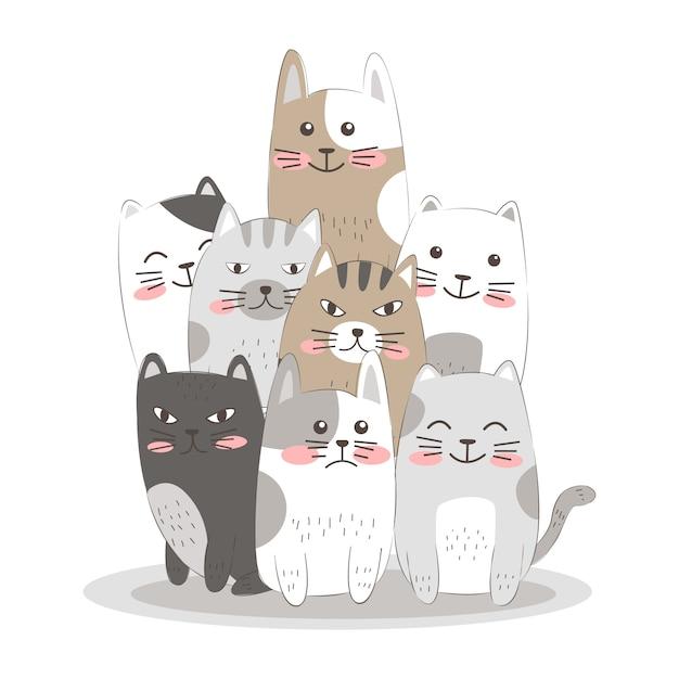 Disegnare a mano i gatti Vettore Premium