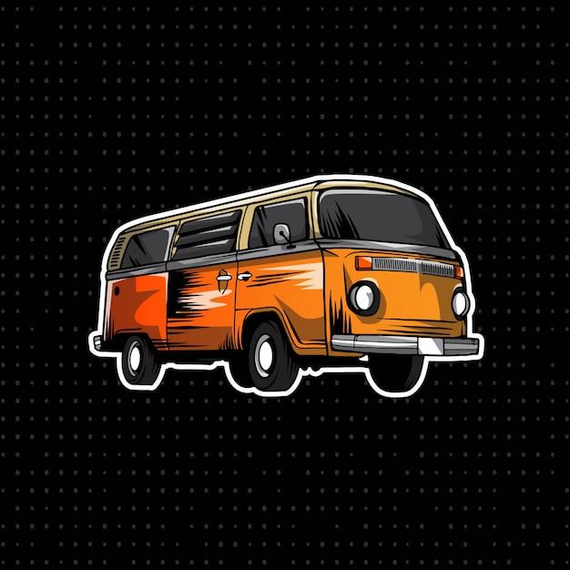 Disegnare a mano volkswagen bus Vettore Premium