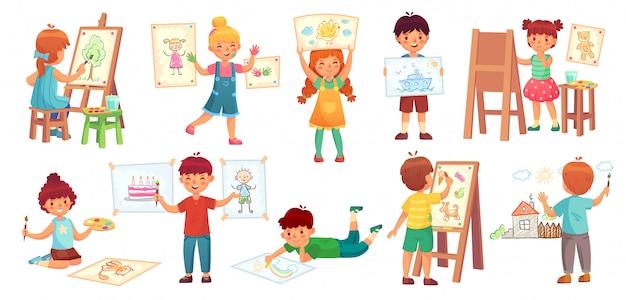 Disegnare i bambini. scherza l'illustratore, il gioco del disegno del bambino e disegna il fumetto del gruppo dei bambini Vettore Premium