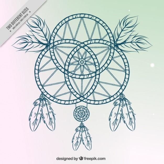 Disegnata a mano acchiappasogni su un semplice sfondo for Acchiappasogni disegno