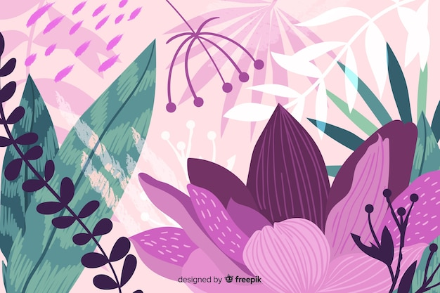 Disegnata a mano astratto giungla flora sfondo Vettore gratuito