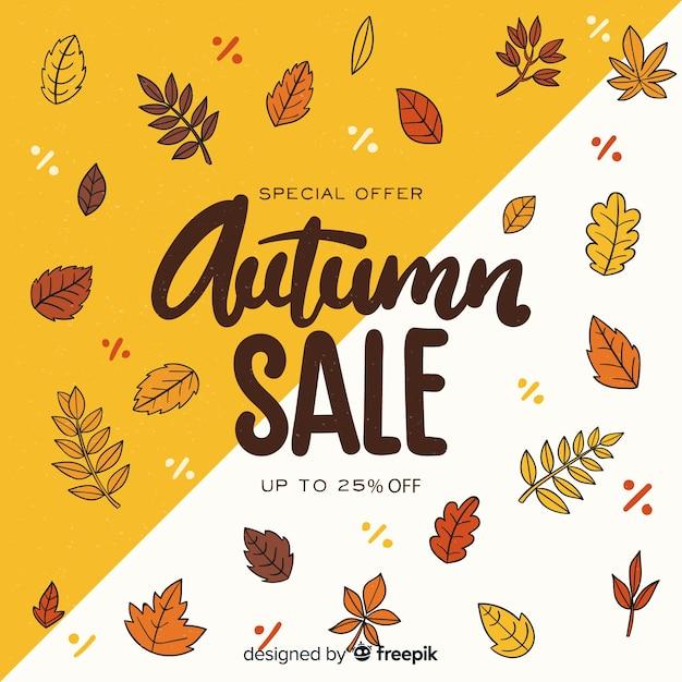 Disegnata a mano autunno vendita sfondo Vettore gratuito