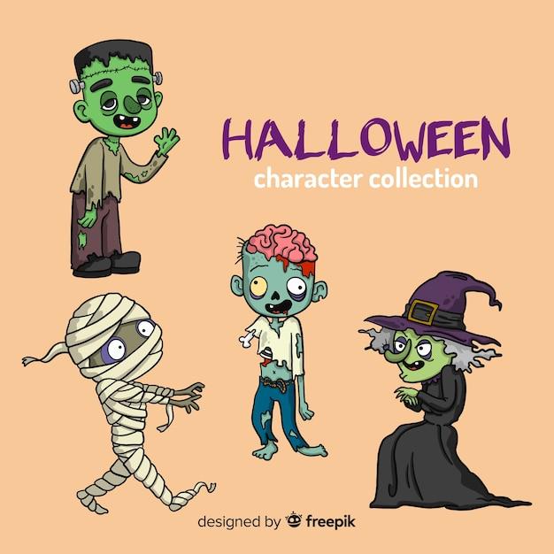 Disegnata a mano bella collezione di caratteri di halloween Vettore gratuito