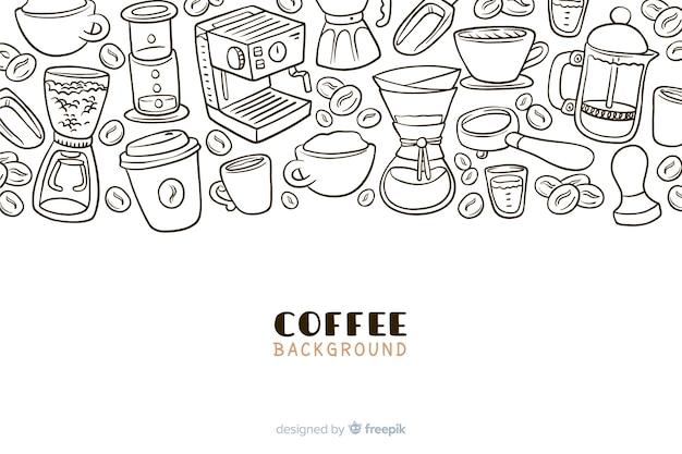 Disegnata a mano bere caffè sfondo Vettore gratuito