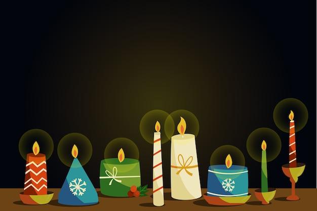 Disegnata a mano candela sfondo di natale Vettore gratuito