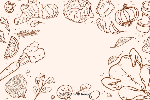 Disegnata a mano cibo sano sfondo Vettore gratuito