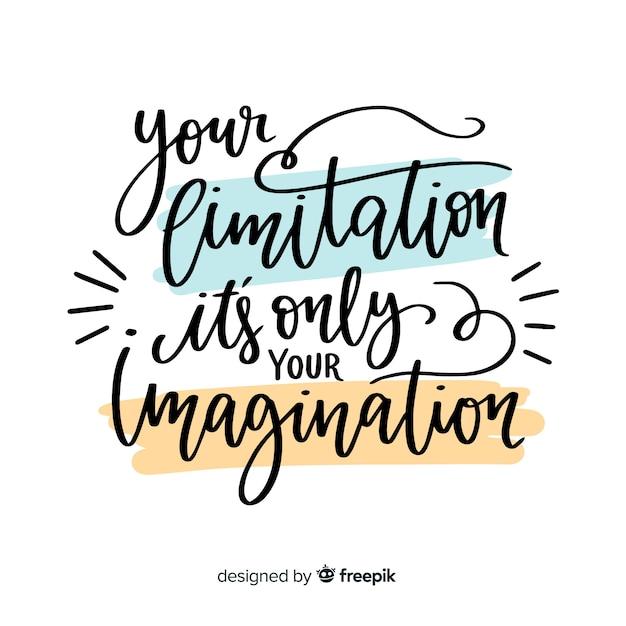 Disegnata a mano citazione motivazionale lettering sfondo Vettore gratuito