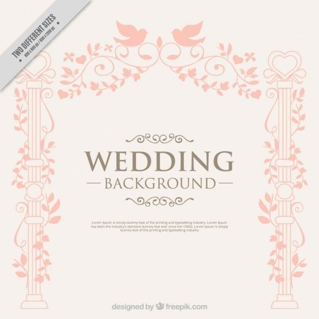 Disegnata a mano decorazione elegante con sfondo uccelli di nozze Vettore gratuito