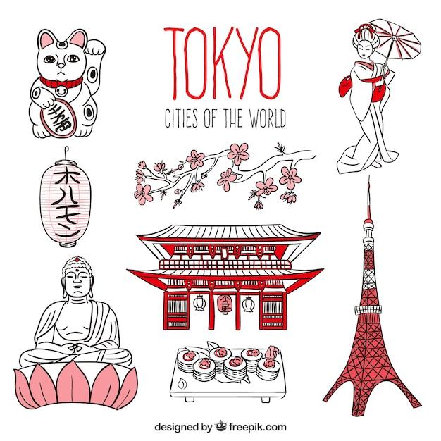 Disegnata a mano di tokyo pacchetto Vettore gratuito