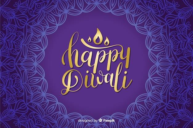 Disegnata a mano diwali blu lettering sfondo Vettore gratuito