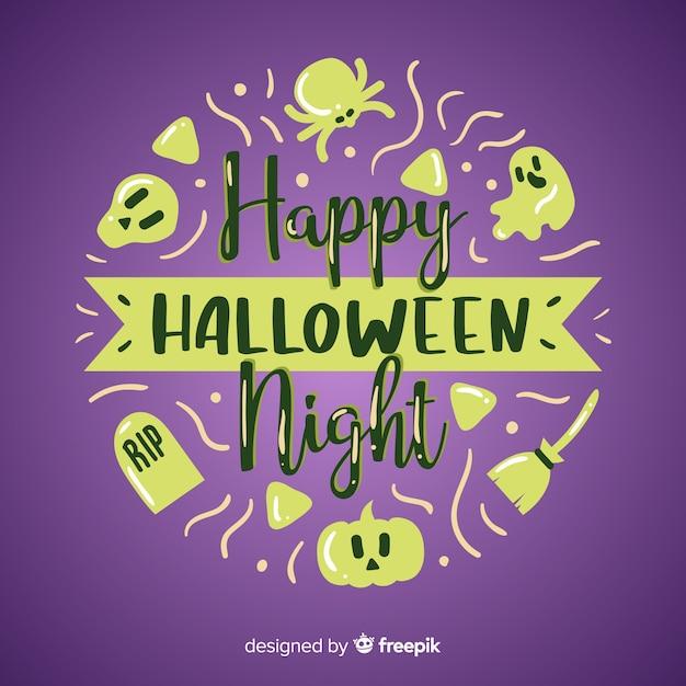 Disegnata a mano felice halloween scritte sullo sfondo Vettore gratuito