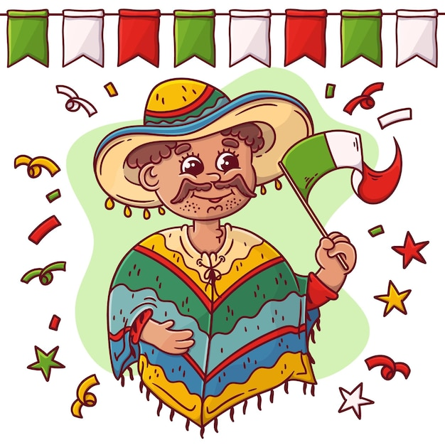 Disegnata a mano festa dell'indipendenza del messico Vettore gratuito