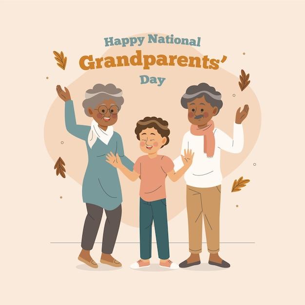 Disegnata a mano festa nazionale dei nonni con il nipote Vettore gratuito