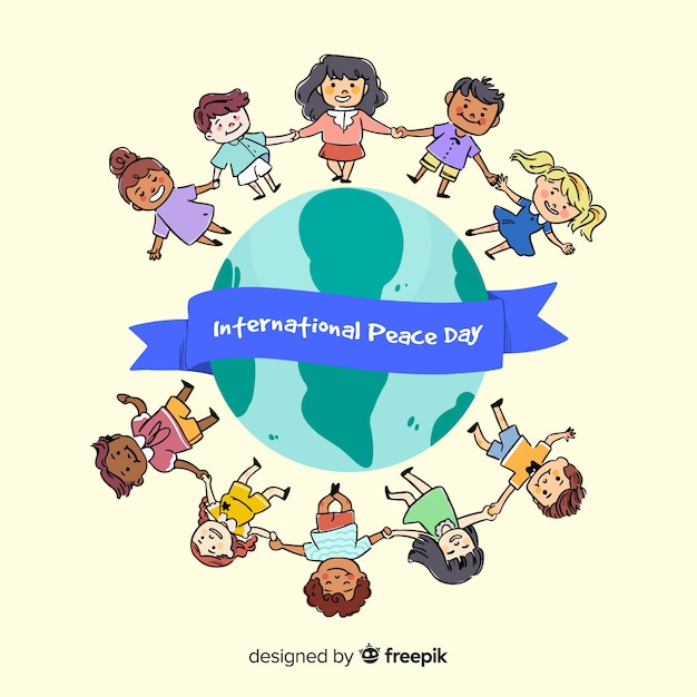 Disegnata a mano giornata di pace con i bambini Vettore gratuito