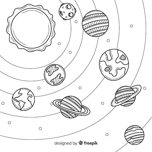 Disegnata a mano incantevole composizione del sistema solare Vettore gratuito