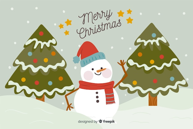 Disegnata a mano natale pupazzo di neve sullo sfondo Vettore gratuito