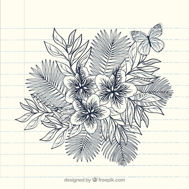 Disegnata a mano notebook doodle illustrazione vettoriale fiore Vettore gratuito