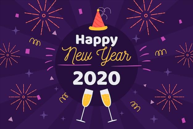 Disegnata a mano nuovo anno 2020 sullo sfondo Vettore gratuito