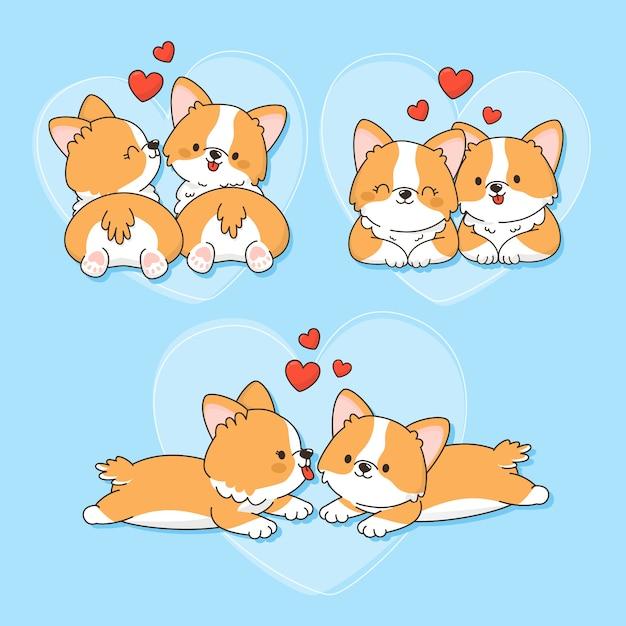 Disegnata a mano san valentino coppia di animali Vettore gratuito