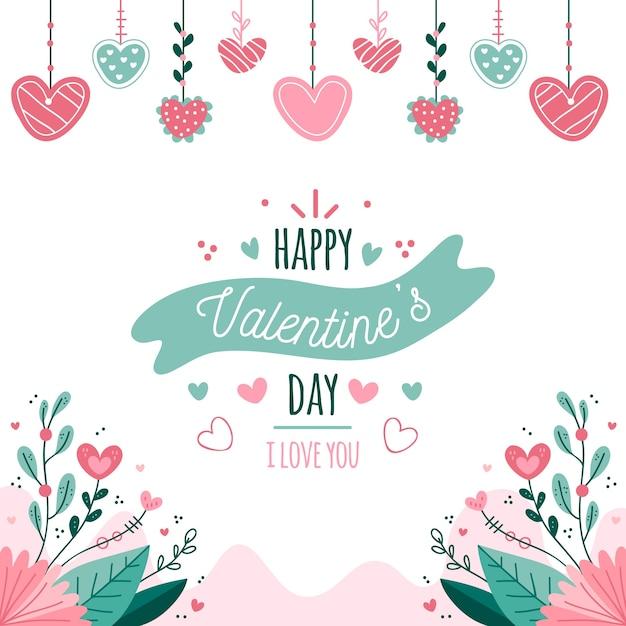 Disegnata a mano san valentino sfondo Vettore gratuito