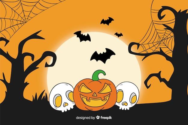 Disegnata a mano sfondo di halloween Vettore gratuito