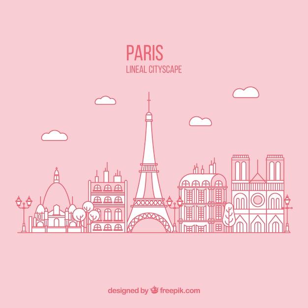 disegnata a mano sfondo di Parigi in colore rosa Vettore gratuito