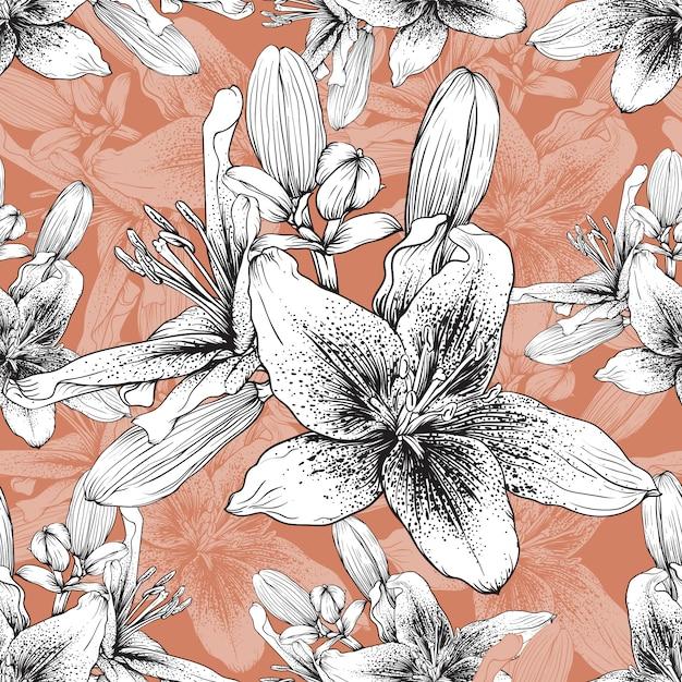 Disegnata a mano sfondo floreale vintage Vettore Premium