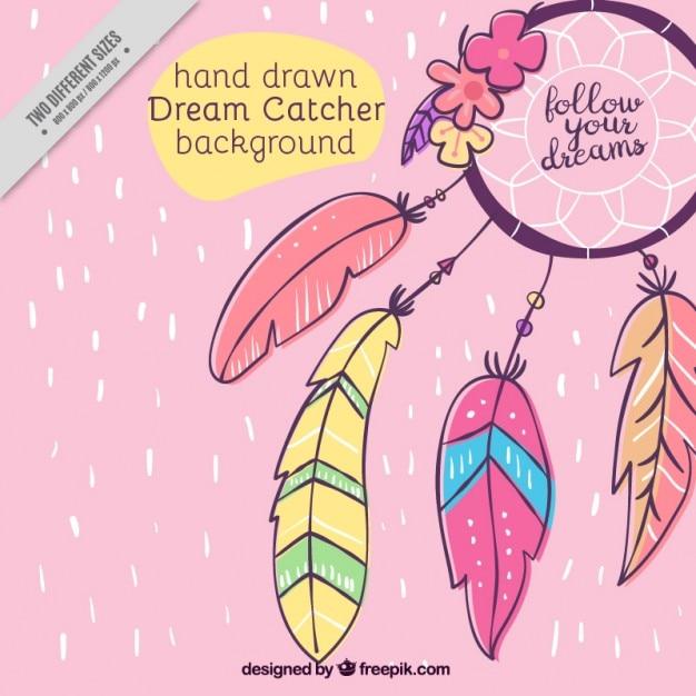 Disegnata a mano sfondo ornamentale con acchiappasogni Vettore gratuito