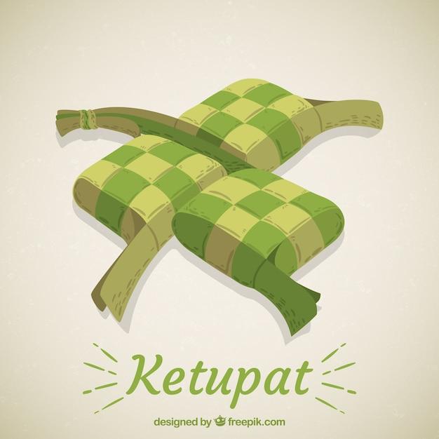 Disegnata a mano tradizionale composizione ketupat Vettore gratuito