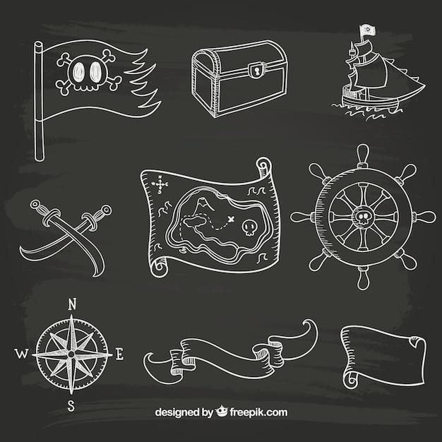 Disegnate a mano marinaio icone Vettore gratuito