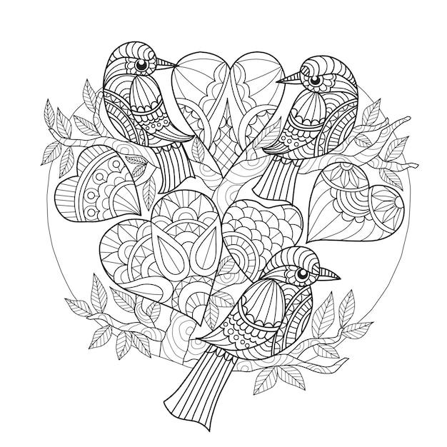Disegnati a mano 3 uccelli e cuori Vettore Premium