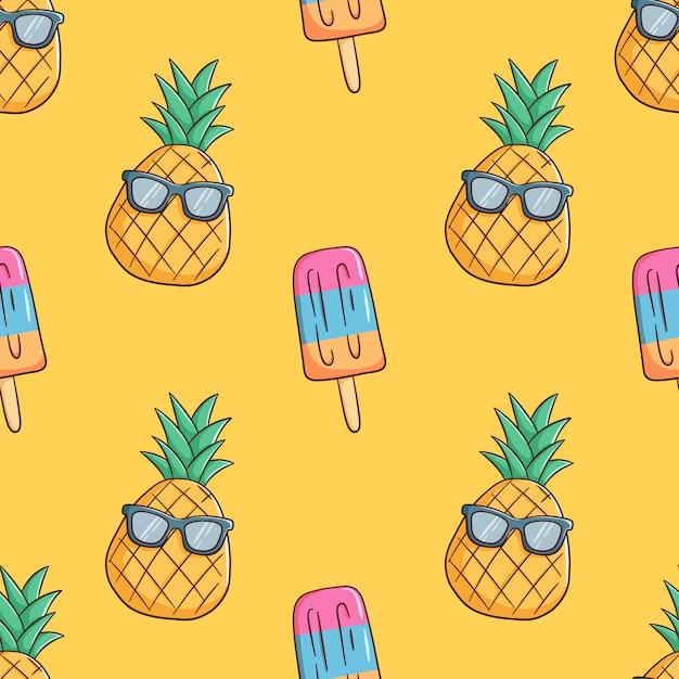 Disegnati a mano ananas indossare occhiali da sole con gelato in seamless Vettore Premium