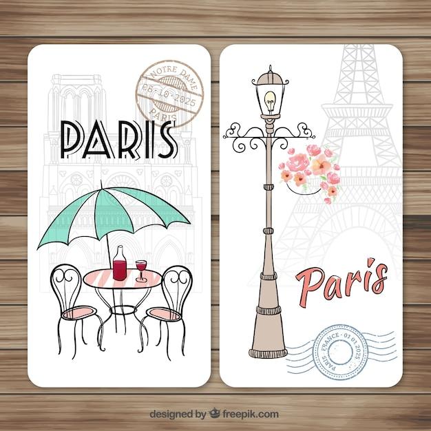 Disegnati a mano carino biglietti di parigi Vettore gratuito