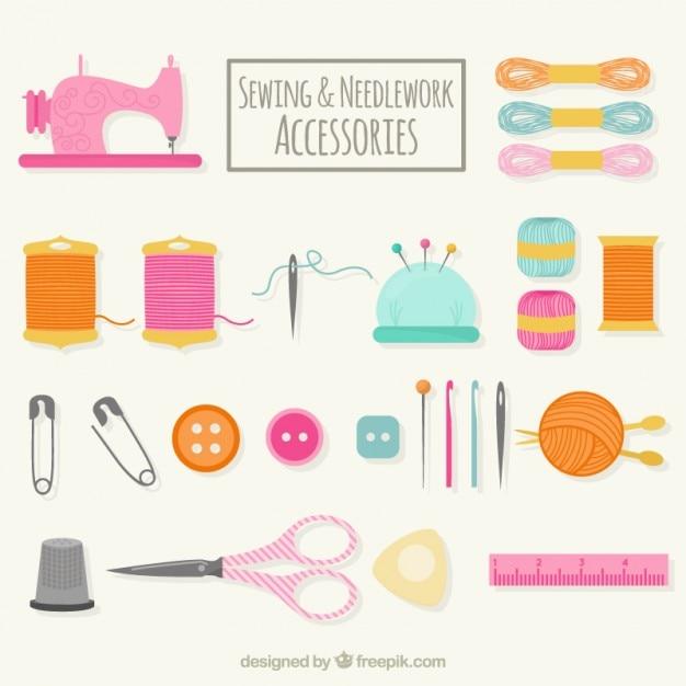 Disegnati a mano cucire accessori Vettore gratuito