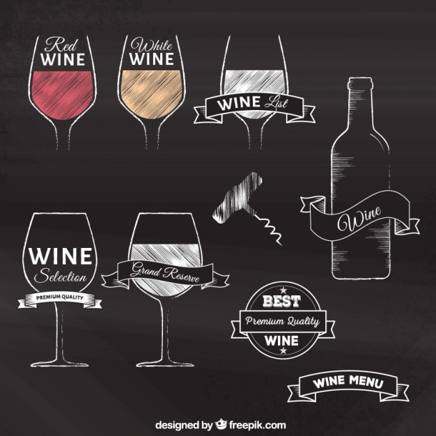 Disegnati a mano distintivi del vino Vettore gratuito