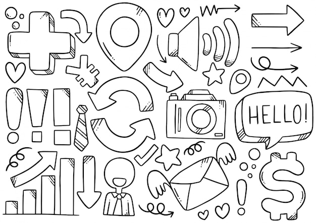 Disegnati a mano doodle elementals business Vettore Premium