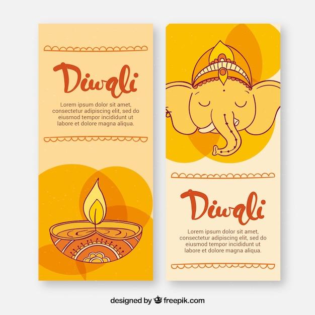 Disegnati a mano elefanti e banner di candele di diamanti Vettore gratuito