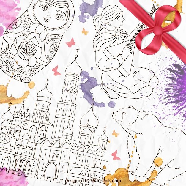 Disegnati a mano elementi russo Vettore gratuito