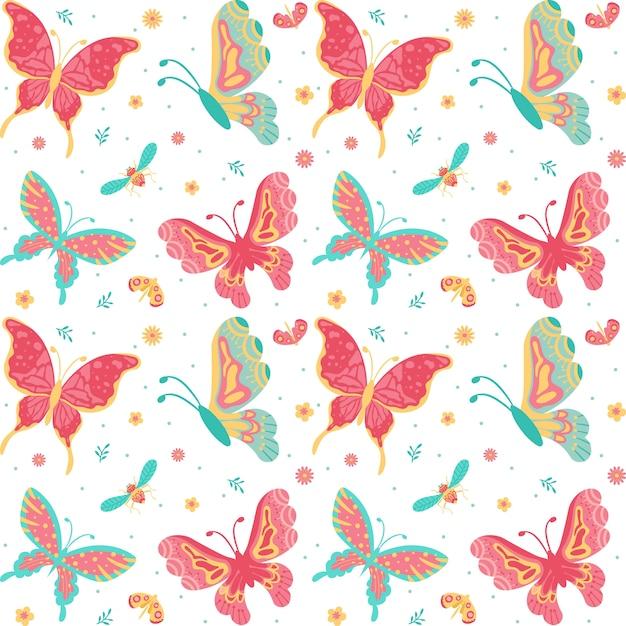 Disegnati a mano farfalle, insetti, fiori e piante seamless pattern isolato su sfondo bianco Vettore Premium
