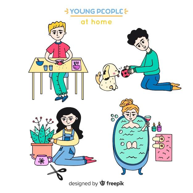 Disegnati a mano i giovani a casa Vettore gratuito