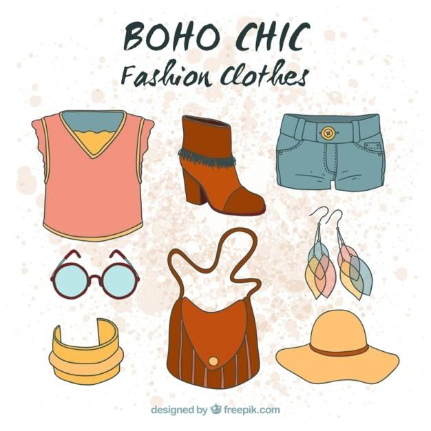 quality design 01d93 7a9ca Disegnati a mano i vestiti boho in stile hippy | Scaricare ...