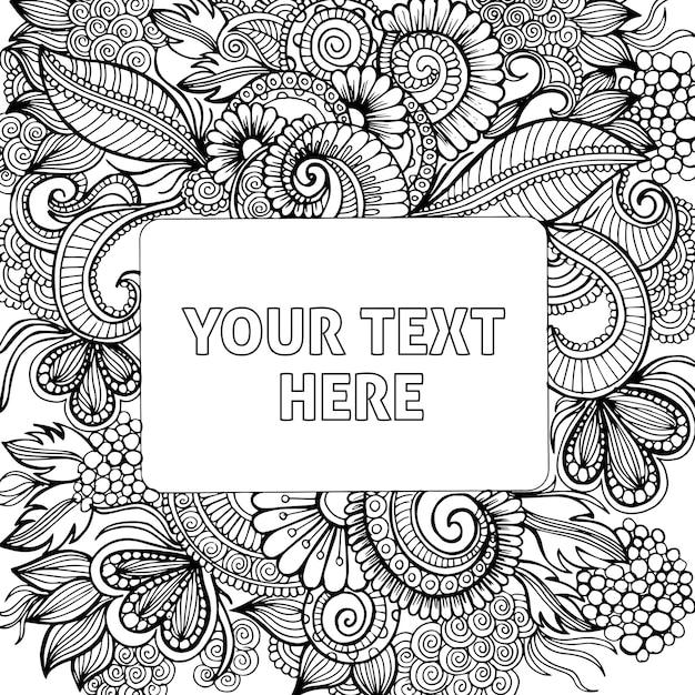 Disegnati a mano in bianco e nero per adulti da colorare Vettore gratuito