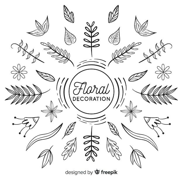 Disegnati a mano incolore elementi di decorazione floreale Vettore gratuito