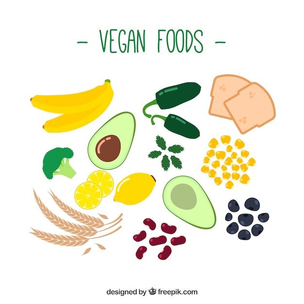 Disegnati a mano ingredienti vegan Vettore gratuito