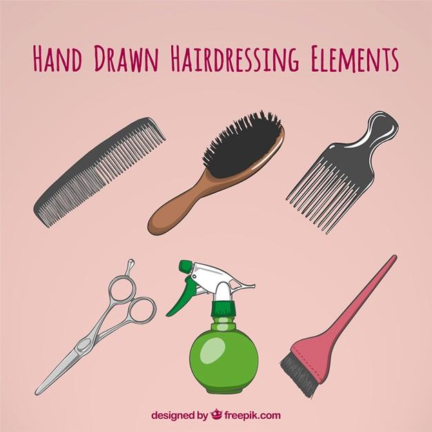 Disegnati a mano le cose di hairdrassing Vettore gratuito