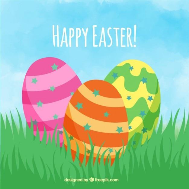 Disegnati a mano le uova di pasqua con colori strisce - Uova di pasqua decorati a mano ...