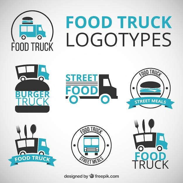 Disegnati a mano loghi camion alimentari con dettagli blu Vettore gratuito